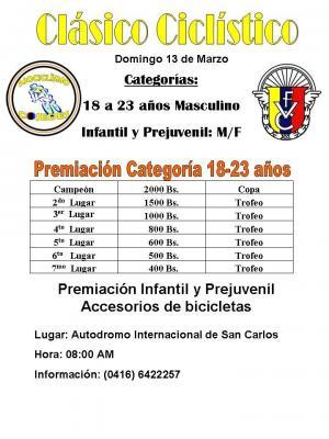 El 13 de Marzo Clasico Ciclistico en San Carlos Estado Cojedes