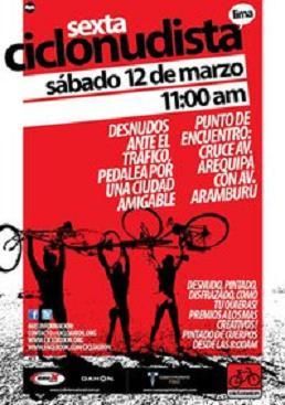 Este Sábado 12 de Marzo de 2011 Marcha Ciclonudista en Lima Peru