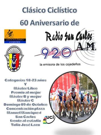 Clásico Ciclístico  60 Aniversario de Radio San Carlos se correra el Domingo 9 de Octubre