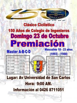 Este Domingo en San Carlos se corre el Clasico Ciclistico 150 años del Colegio de Ingenieros