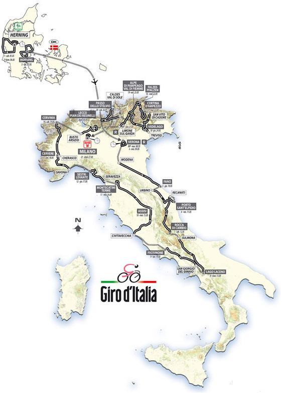 Recorrido del  Giro de Italia 2012