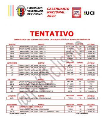 La Federación Venezolana de ciclismo Presento un  Calendario de competencias tentativo, así como horarios de entrenamiento
