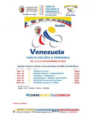 F V C proporcionara alimentación y  Hospedaje a equipos participantes en la Vuelta Ciclista a Venezuela
