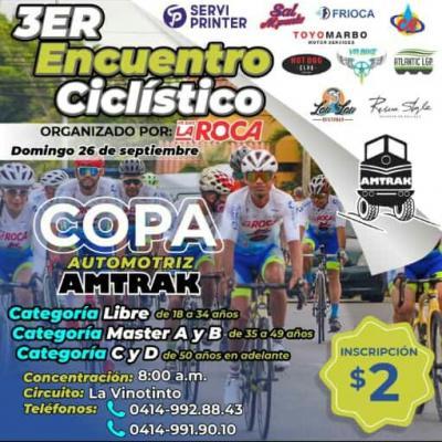 El 26 de Septiembre se correrá el 3er Encuentro Ciclistico en Maturin Organizado por el  (Team VRBIKE La Roca)